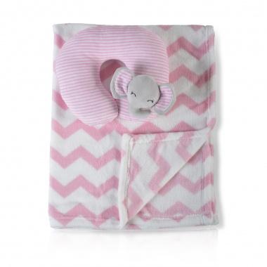Одеяло 90/75 cm с възглавница Sammy розов