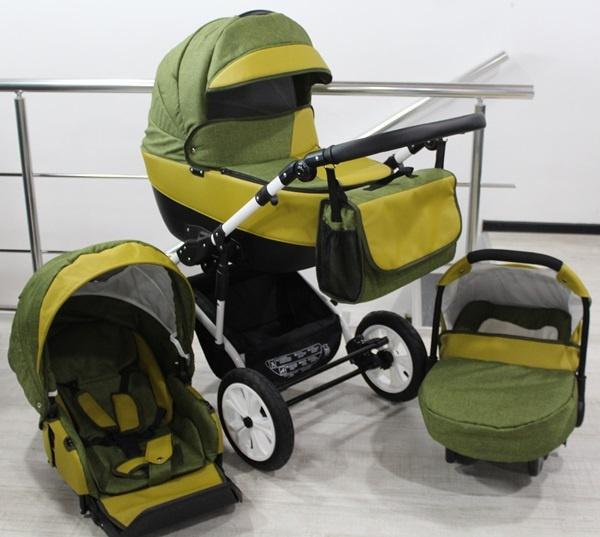 Gusio Бебешка количка 3в1 Polly зелен лен с горчица кожа