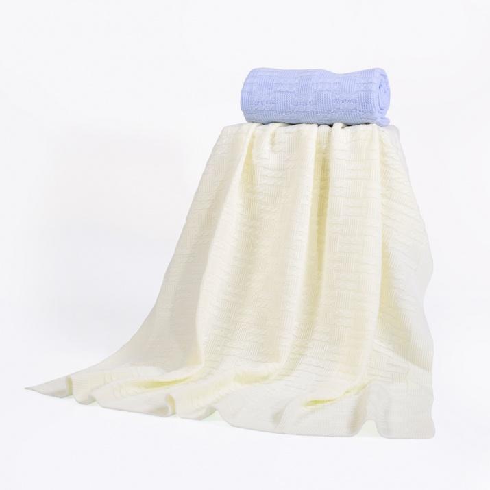 Одеяло 100/90 cm бял квадрати 343