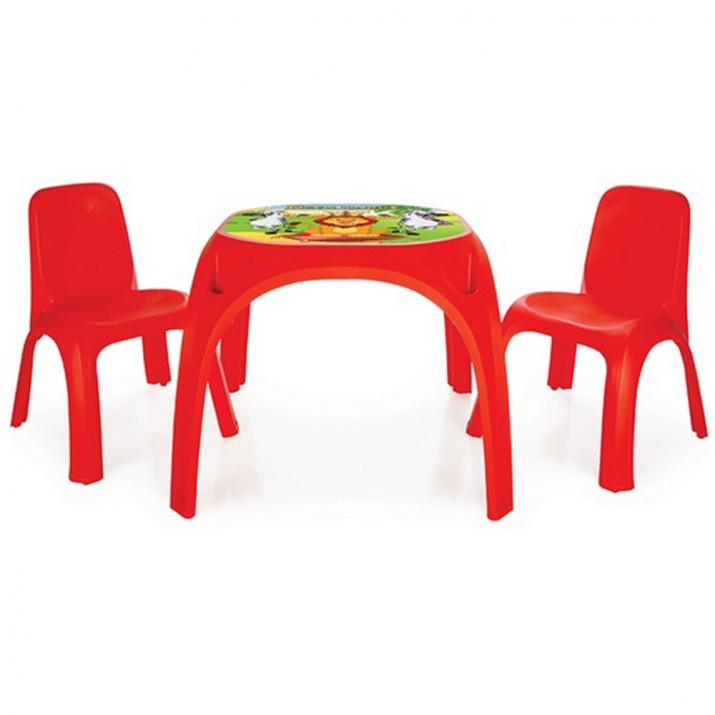 Маса с два стола King червен 03422
